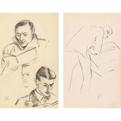 Julius Bloch, '(i) Figure Reading; (11) Man Reading a Large Folio', 1940