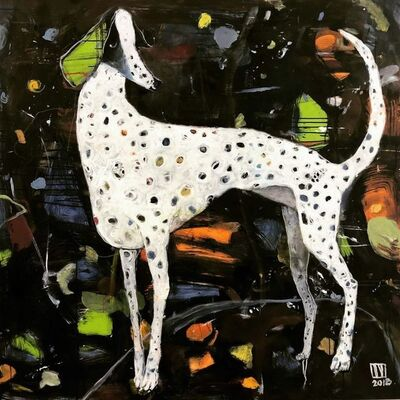 "Ilya Volykhine, '""Glitter"" abstract oil painting of a spotted dog with a black background', 2018"