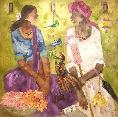 """JMS Mani, 'Badami People, Oil on Canvas by Contemporary Artist """"In Stock""""', 2016"""