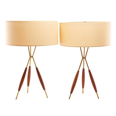 Gerald Thurston, 'Pair of tripod table lamps, USA'