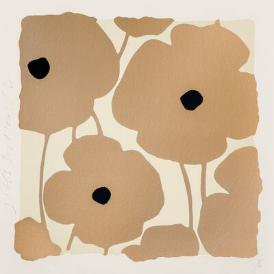 Donald Sultan, 'Three Poppies (Gold)', 2020