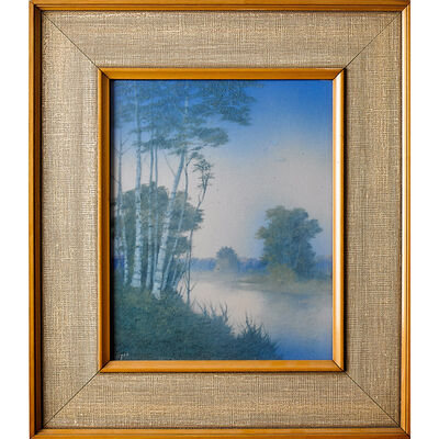 Edward T. Hurley, 'Rookwood, Scenic Vellum Plaque With Misty Landscape (Framed), Cincinnati, OH', ca. 1915