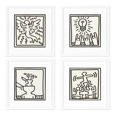 Keith Haring, 'Flying Angel; Idea; Untitled (Open Head); Pyramid', 1982