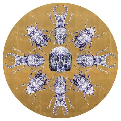 Magnus Gjoen, 'KHAOS Print with skulls, beetles and scarab gold leaf ', 2019