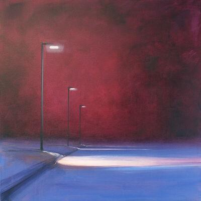 Sigrid Nienstedt, 'Blaue Straße mit 3 Laternen', 2019