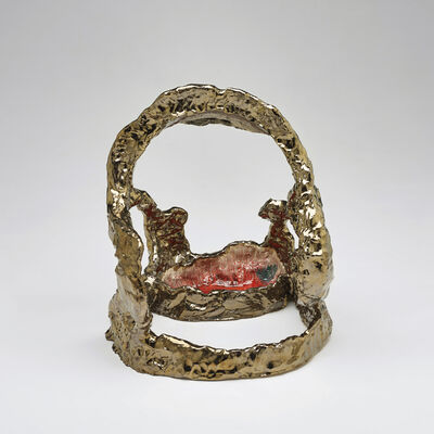 Sterling Ruby, 'Ceramic/Brass Facial with Red Bowl', 2006