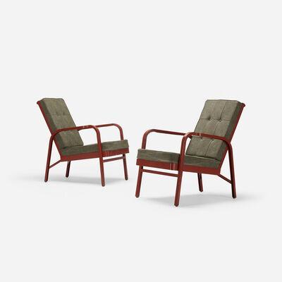Jean Prouvé, 'pair of armchairs for Martel de Janville Sanatorium, Plateau d'Assy', 1936