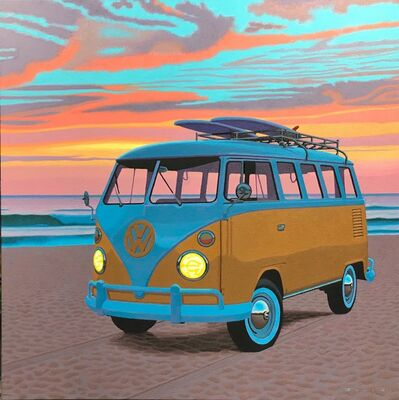 "Rob Brooks, '""Dawn Patrol"" photorealist oil painting of a vintage yellow Volkswagen Bus, orange sky, blue clouds', 2019"