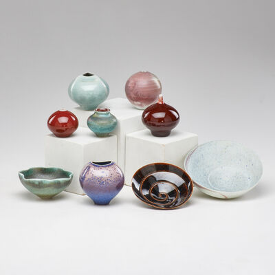 Mark Bell, 'Nine cabinet vessels in various glazes: six vases and three bowls'