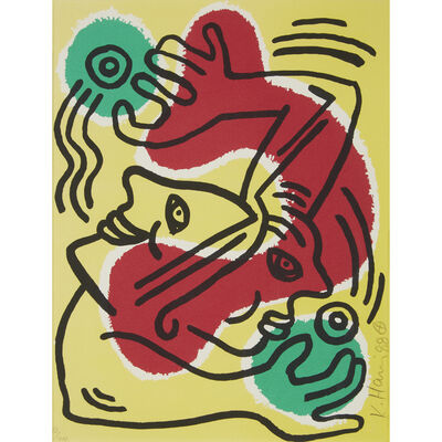 Keith Haring, 'Two Prints: International Volunteer Day; Fight Aids Worldwide'