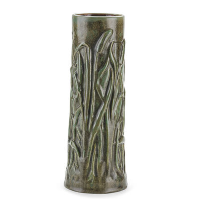 Fulper Pottery, 'Fine and Rare Cattail Vase, Flemington, NJ', 1910s