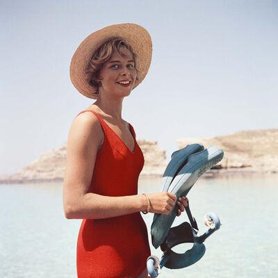 Slim Aarons, 'Marietine Birnie, Blue Lagoon, Kemmuna (Slim Aarons Estate Edition)', 1959