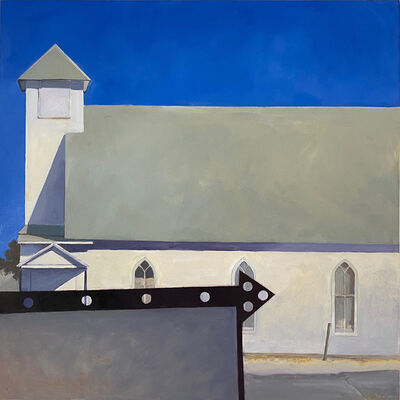 John Wolfe, ''Church in McCloud, Oklahoma,' by John Wolfe, Acrylic on Panel Painting', Late 20th century