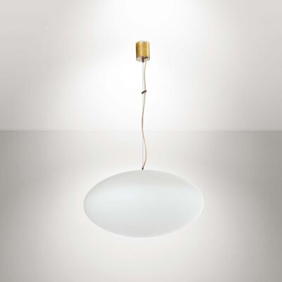 Stilnovo, 'An Ufo pendant lamp with a brass structure and opaline glass diffuser', 1950 ca.