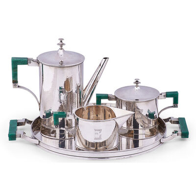 Erik Magnussen, 'Fine and rare four-piece coffee set, Germany: coffee pot, sugar, creamer, and tray'