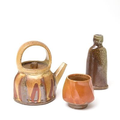 Micki Schloessingk, 'a saltglazed teapot,with faceted sides and a loop handle,a yunom of spiral formi, and a bottle.'