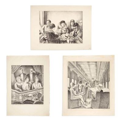 Julius Bloch, 'DOCTOR'S WAITING ROOM; OPERA BOX; PARLOR CAR', circa 1930 and cira 1940