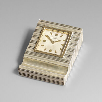 Cartier, 'Sterling silver and gold desk clock', c. 1945