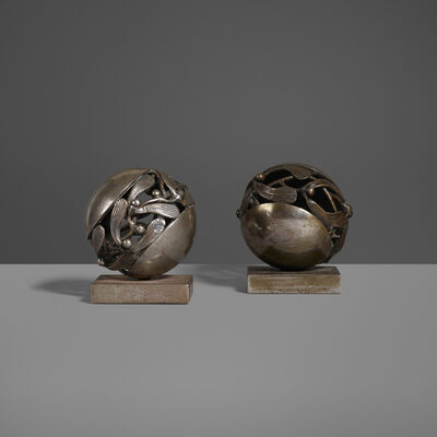 Edgar Brandt, 'Boule de Gui Paperweights, Set of Two', c. 1925