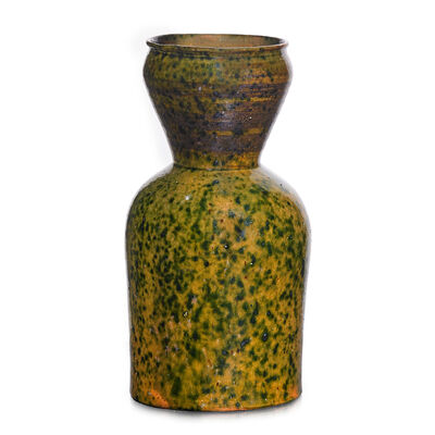 George Ohr, 'Large corseted vase, green, ochre, and gunmetal speckled glaze', 1897-1900