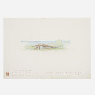 Frank Lloyd Wright, 'Presentation drawing for the John D. Haynes House, Fort Wayne, Indiana', 1950
