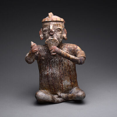 Mexico, Nayarit, 1st century BC-4th century AD, 'Ixtlán del Rio Style Nayarit Sculpture of a Seated Man', 300 BC to 300 AD