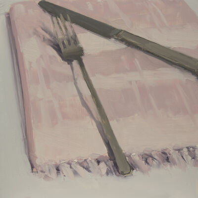 Carrie Mae Smith, 'Fork and Knife on Pink Napkin'