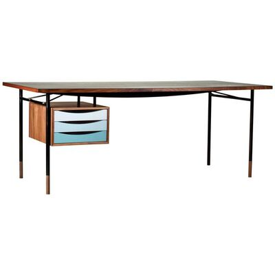 Finn Juhl, 'Finn Juhl Nyhavn Desk Walnut Black Lino Cold Colorway Blue and White, 1945', Contemporary