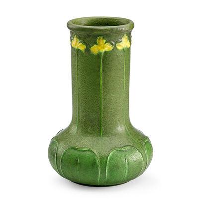 Wilhelmina Post, 'Grueby, Fine And Tall Vase With Yellow Irises, Boston, MA', ca. 1900