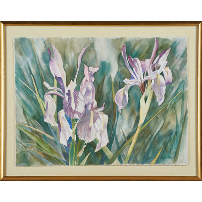 Linda Loechen, 'Three botanical watercolors on paper (all framed separately)'