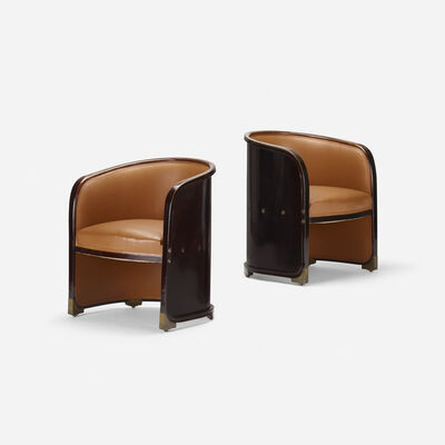 Josef Hoffmann, 'armchairs model no. 720, pair', c. 1901