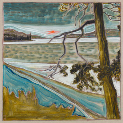 Billy Childish, 'shoreline and midnight sun', 2018