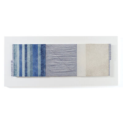 Chiyoko Tanaka, 'Grinded Fabric-Three Squares Blue Threads and Blue #689', 2005