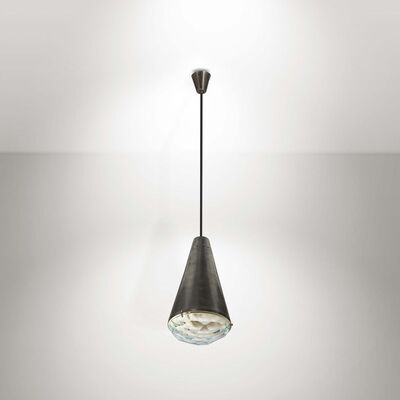 Max Ingrand, 'A mod. 1995 lamp in nickeled brass with a cut crystal diffuser', 1960 ca.