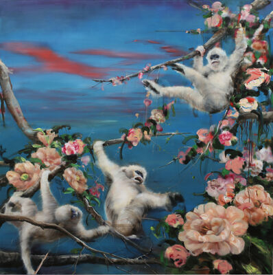 Li Tianbing, 'White monkeys play in the flower sea', 2019