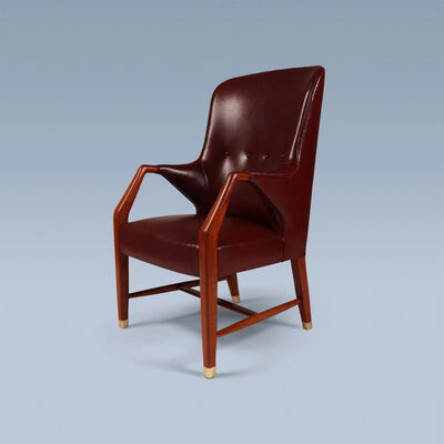Peter Hvidt and Orla Mølgaard-Nielsen, 'Executive high back leather armchair with brass feet', 1948