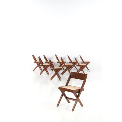 Pierre Jeanneret, 'Library chair - Set of ten chairs', near 1959-1960