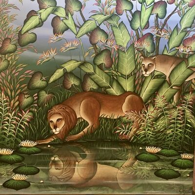"""Gustavo Novoa, '""""Narcissus"""" Lion and Lioness Tropical Jungle Painting Gustavo Novoa Lions', 20th Century"""