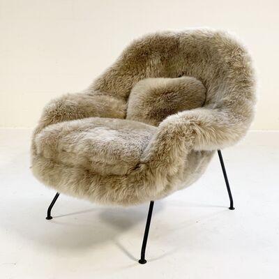 Eero Saarinen, 'Early Womb Chair Restored in New Zealand Sheepskin', mid 20th Century