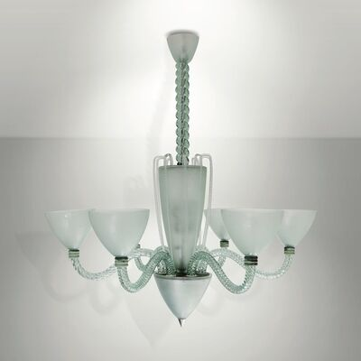 Seguso, 'A pendant lamp with a structure in metal, glass and torchon glass', 1930 ca.