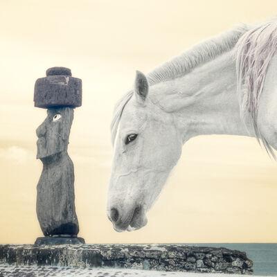 Nevada Wier, 'Easter Island. Chile. Ahu Tahai. Moai & Horse. ', 2020