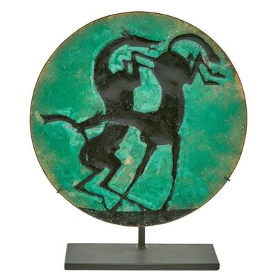 William Hunt Diederich, 'Enamel on Copper Dish Depicting Two Horses', Second quarter of the 20th century