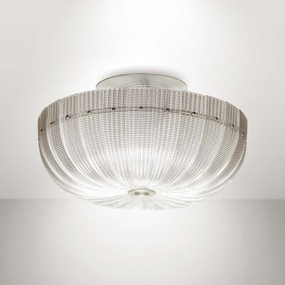 Venini, 'A mod. 5305 plafond lamp with a metal structure and glass diffuser', 1939