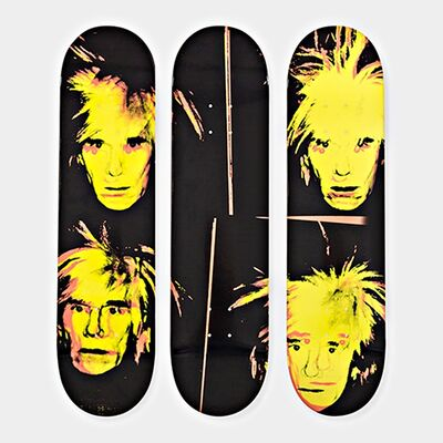 Andy Warhol, 'Self Portrait  (Set of Three (3) Limited Edition Skate Decks) - Brand New with hanging mounts', 2015