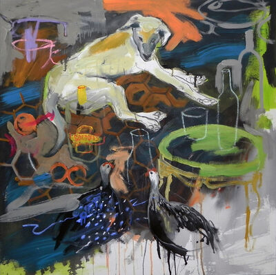 Gopal Dagnogo, 'Chien jaune et pintades ', 2017