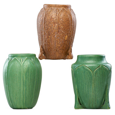 Wheatley, 'Three vases with leaves and buds, brown and green glazes', ca. 1905