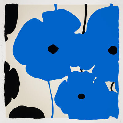 Donald Sultan, 'Blue & Black Poppies', 2020