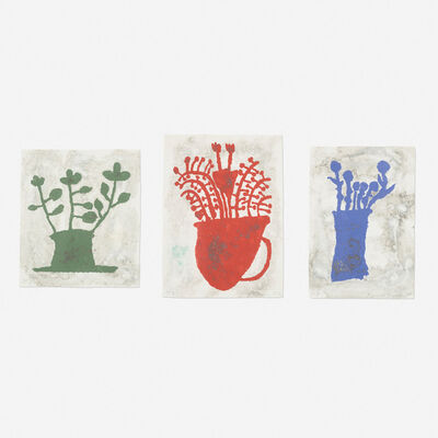 Donald Baechler, 'Green Plant, Blue Flowers and Pompeiian Flowers (three works)', 1997