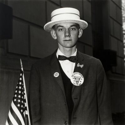 Diane Arbus, ' Boy with a Straw Hat Waiting to March in a Pro-War Parade, NYC', 1967