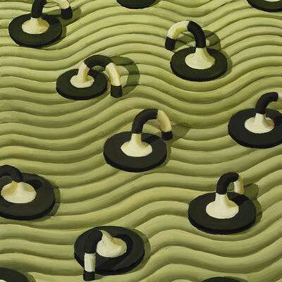 Judith Berry, 'Black and White Discs on Green', 2013